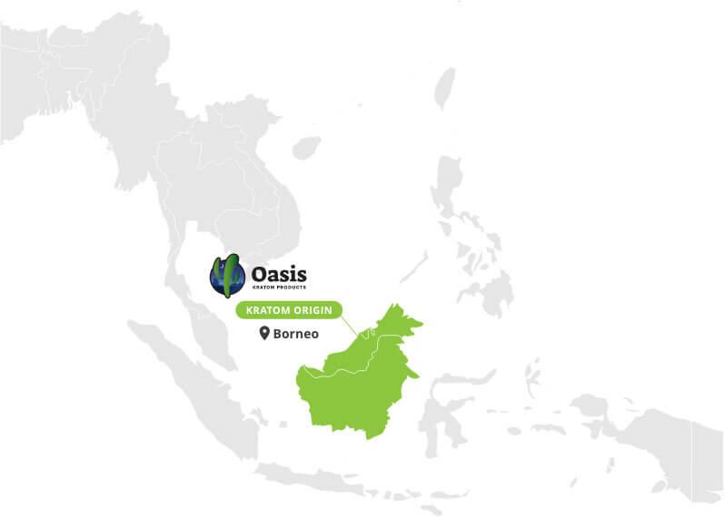 Origin of Red Borneo Kratom Powder - By Oasis Kratom